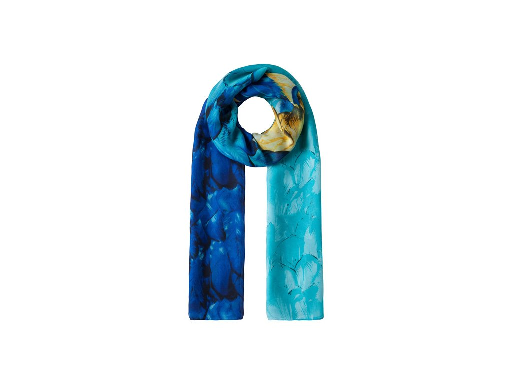 Vincenzo Boretti luxusní šátek, šálka modrá s peřím