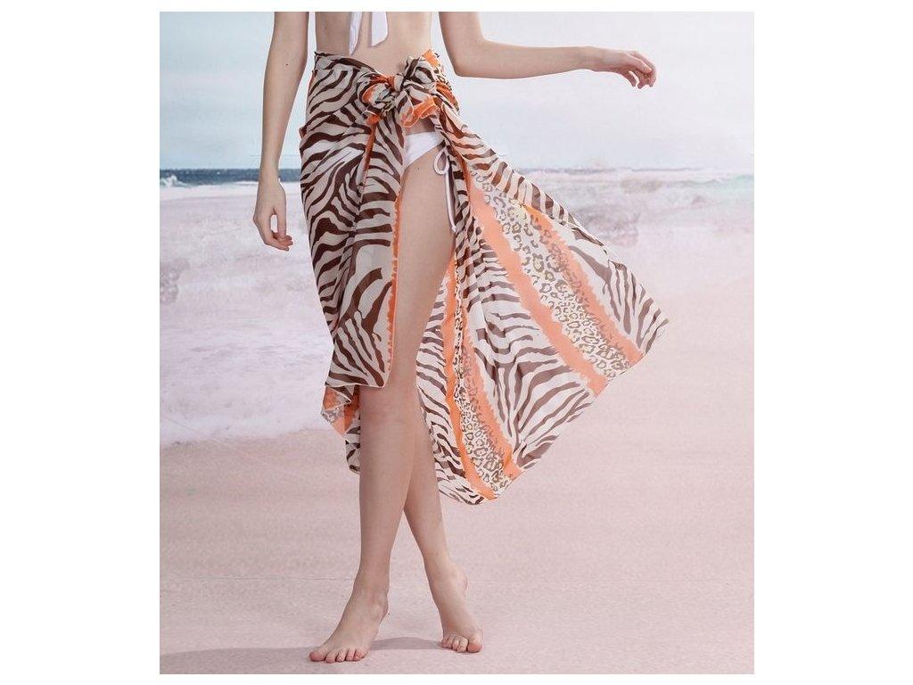 A Sarong šátek na pláž 115 krémový oranžový zebra