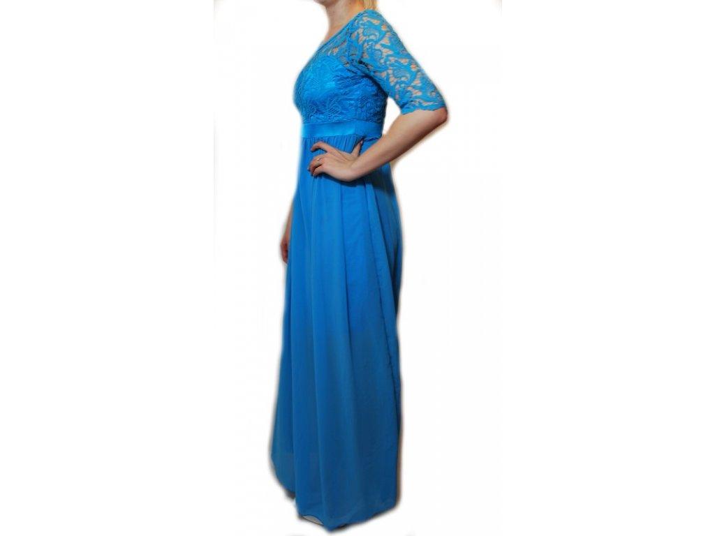 c3d37008097 Dlouhé šaty s krajkou modré 75-6 - trendy-obleceni.cz