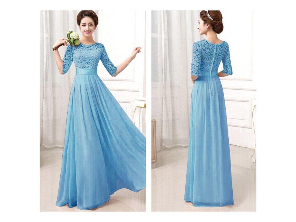 Dlouhé šaty s krajkou modré 75-6