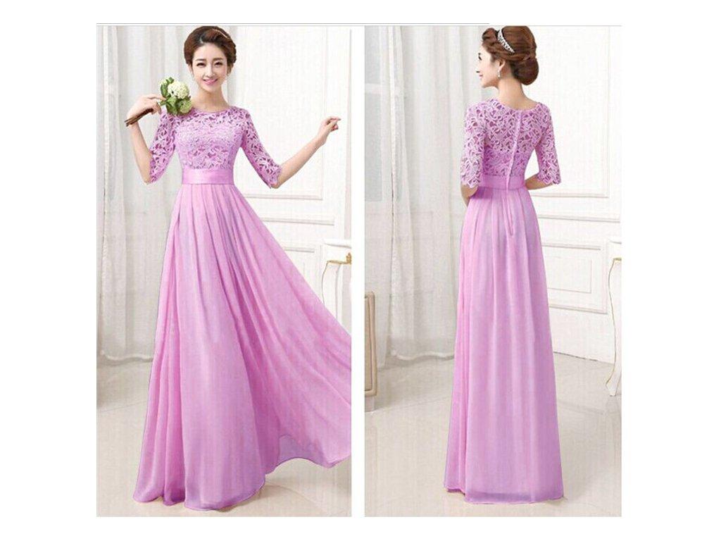 A Dlouhé šaty s krajkou fialkové 75-3
