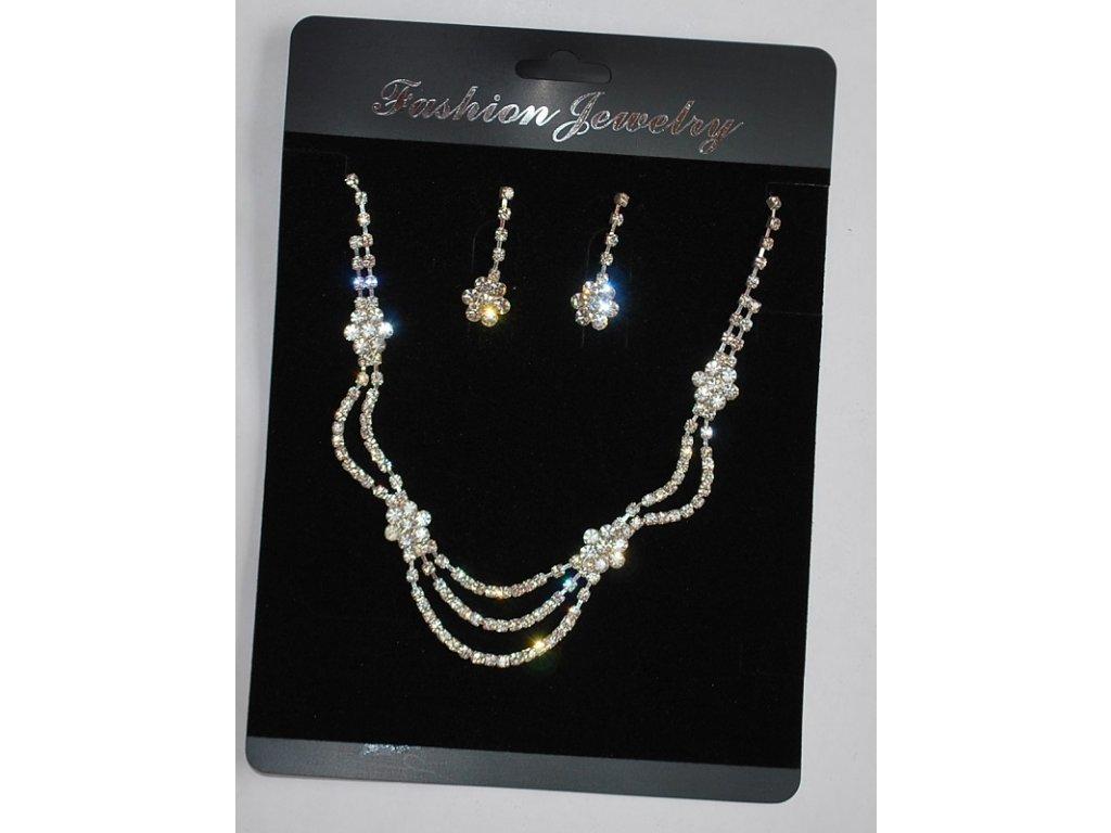 Set z bižuterie štras náušnice a náhrdelník kytičky