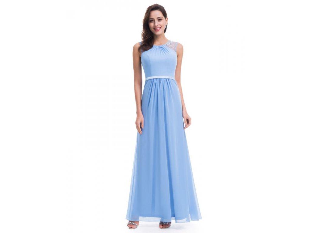 Ever Pretty plesové šaty s perličkami modré 8742 (Velikost 3XL / 48 / 16 / 20)