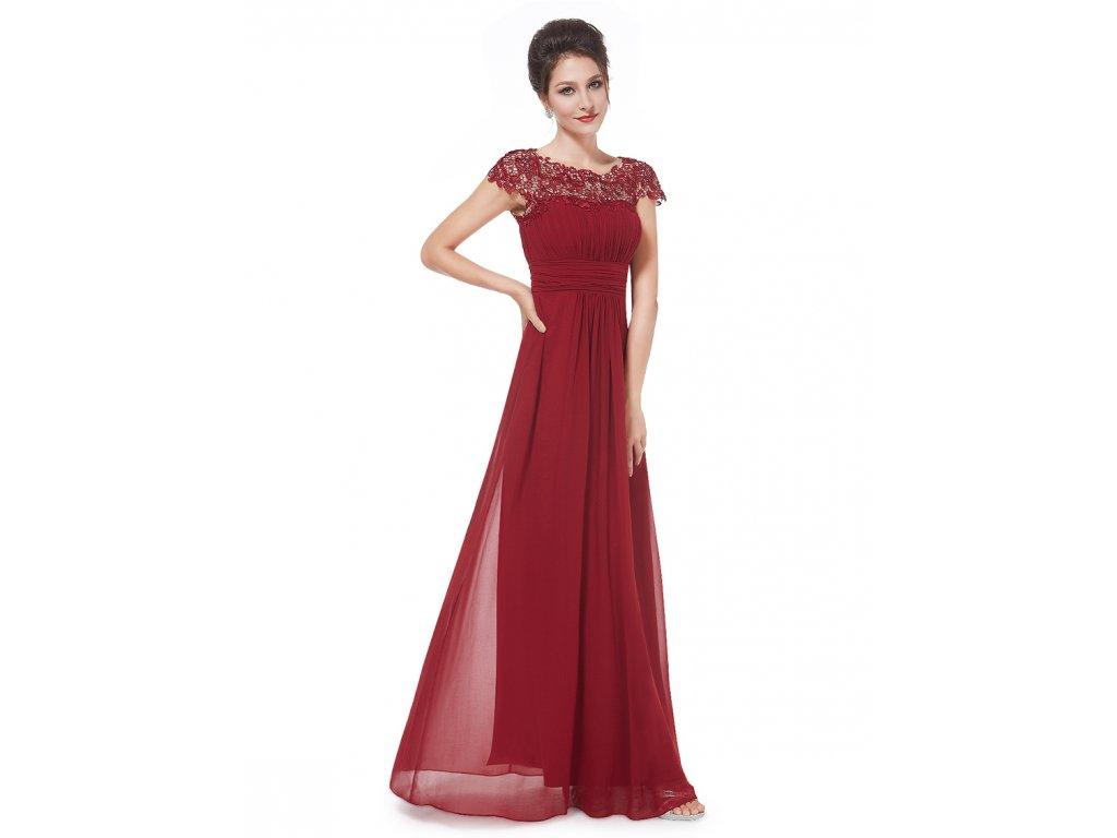 Ever Pretty plesové šaty s krajkou bordo 9993 (Velikost 3XL / 48 / 16 / 20)