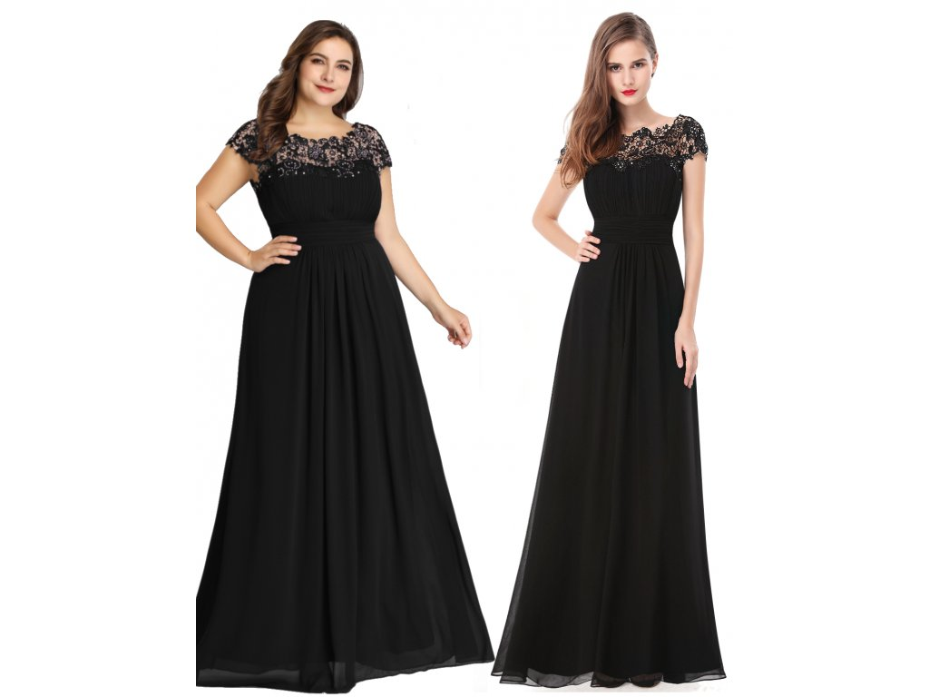 Dlouhé černé šaty s krajkou a rukávkem