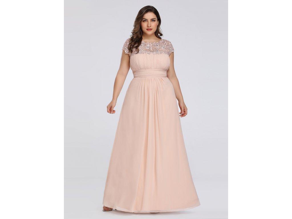 Dlouhé krémové šaty s krajkou