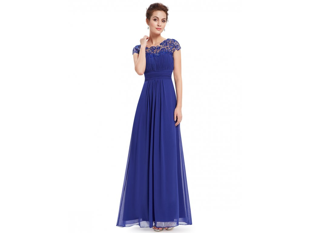 36ab3ff272bb Ever Pretty plesové šaty s krajkou modré 9993 (Velikost 3XL   48   16
