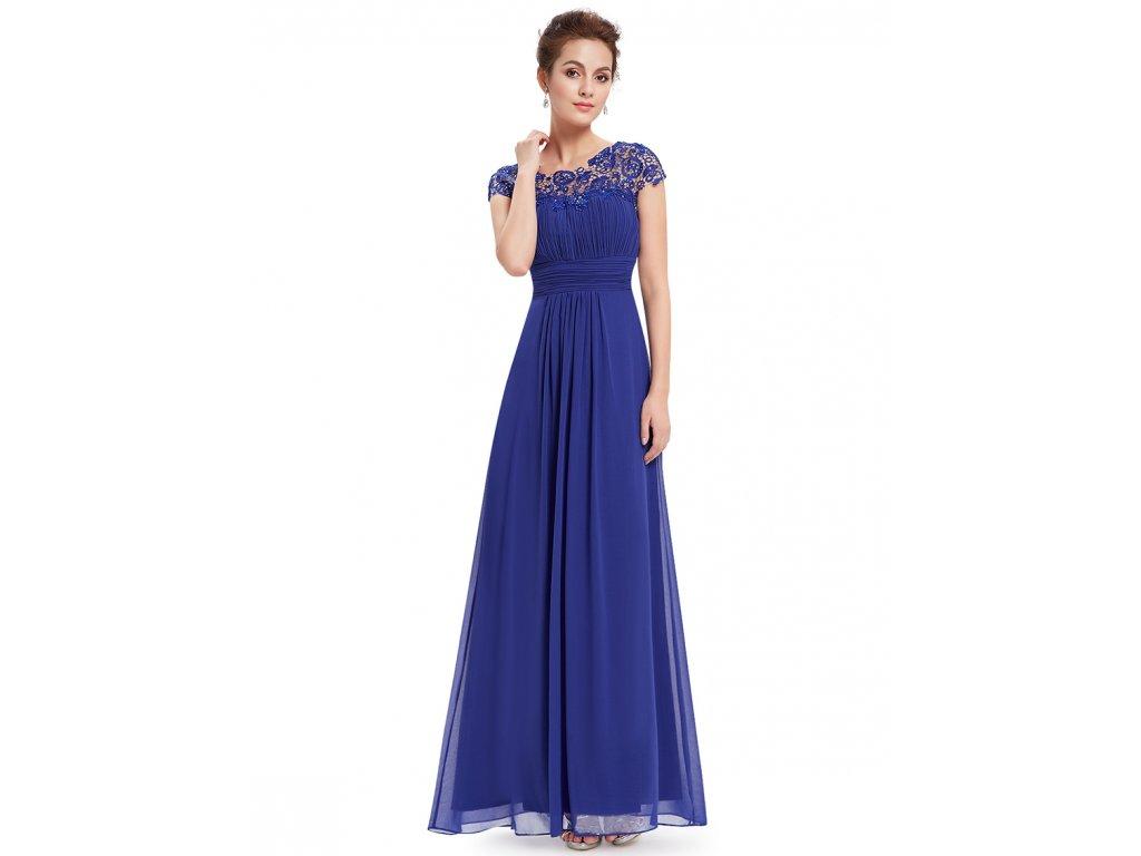 Ever Pretty plesové šaty s krajkou modré 9993 (Velikost 3XL / 48 / 16 / 20)