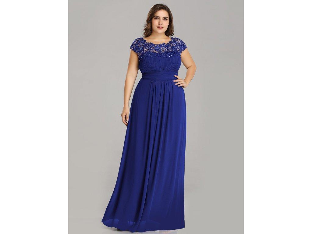 Safírové modré šaty s krajkou