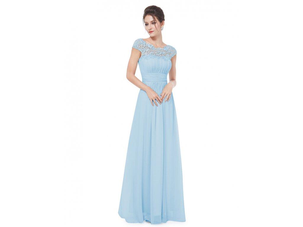 Ever Pretty plesové šaty s krajkou světle modré 9993 (Velikost 3XL / 48 / 16 / 20)