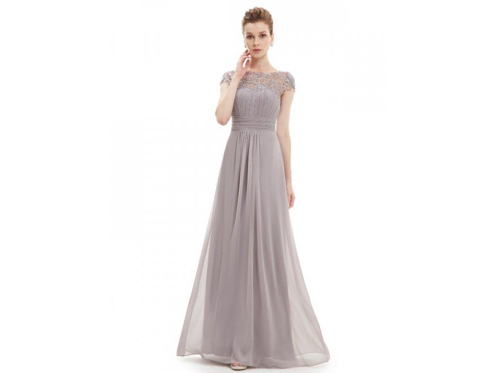 Ever Pretty plesové šaty s krajkou šedé 9993 (Velikost 3XL / 48 / 16 / 20)