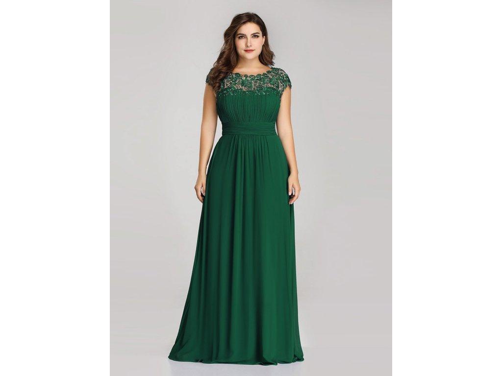 Dlouhé zelená šaty s krajkou