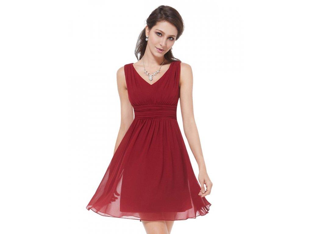 Ever Pretty letní šaty krátké bordo 3909 (Velikost 3XL / 48 / 16 / 20)