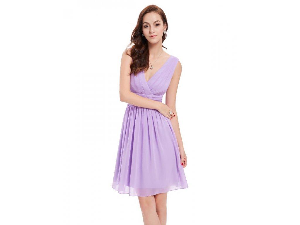 Ever Pretty letní šaty krátké jemné fialové 3989 (Velikost 3XL / 48 / 16 / 20)