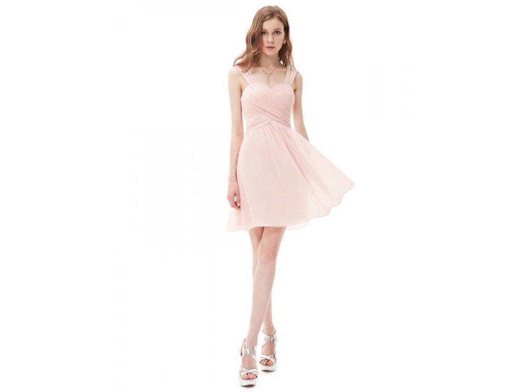 Ever Pretty letní šaty krátké jemně růžové 3539 (Velikost 3XL / 48 / 16 / 20)