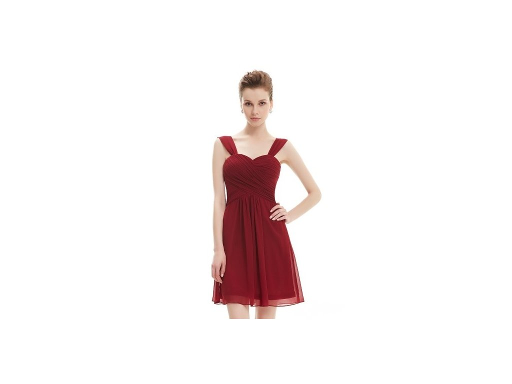 Ever Pretty plesové šaty krátké bordo 3539 (Velikost 3XL / 48 / 16 / 20)