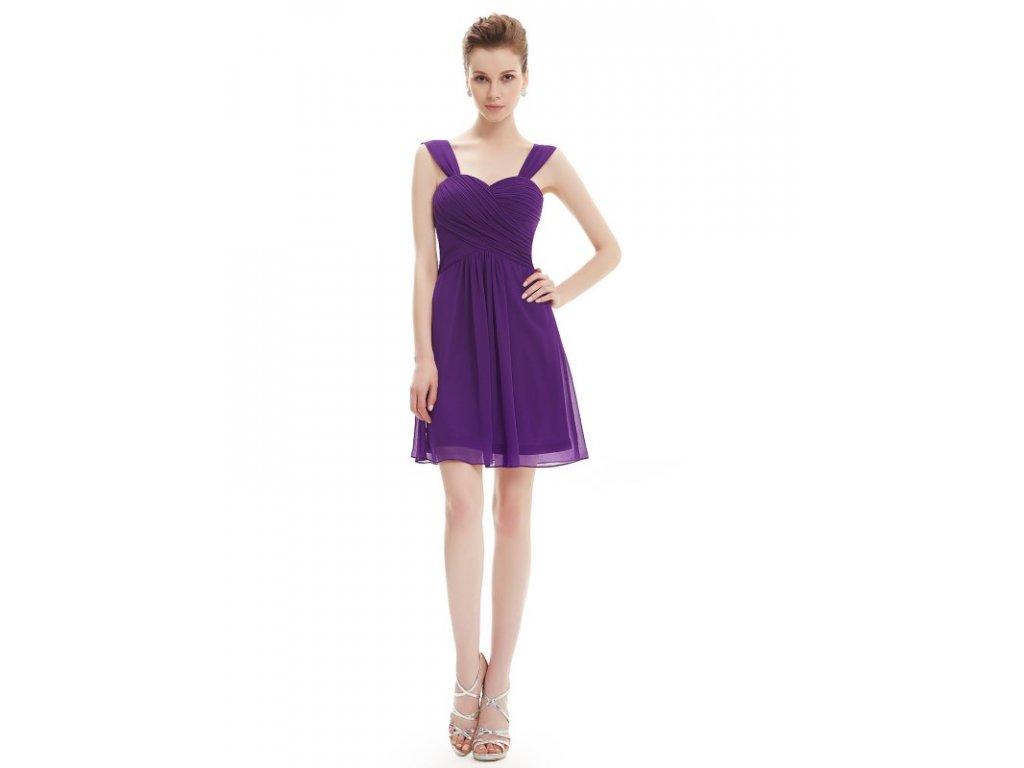 Ever Pretty plesové šaty krátké tmavé fialové 3539 (Velikost 3XL   48   16   e8e57383a4