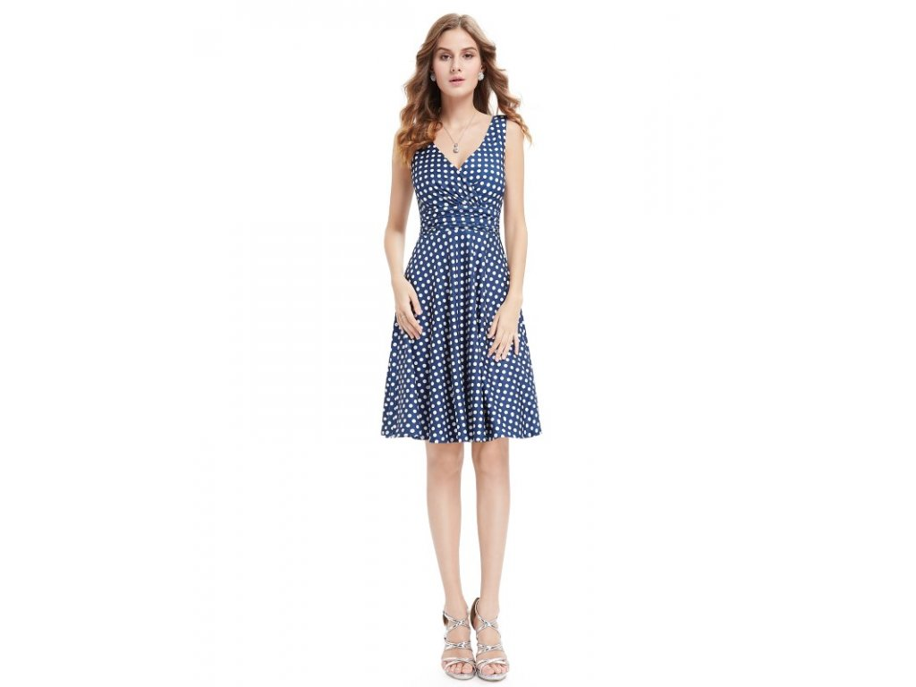 Ever Pretty letní šaty modré puntíkaté 5294 (Velikost 3XL / 48 / 16 / 20)