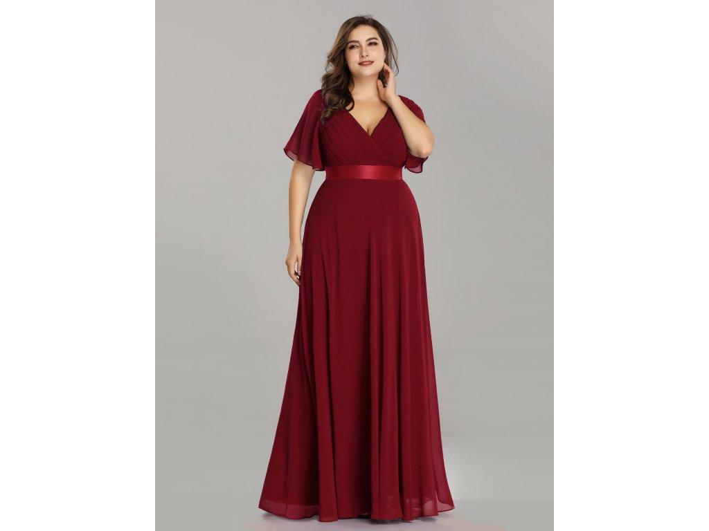 Dlouhé bordo šaty s rukávem