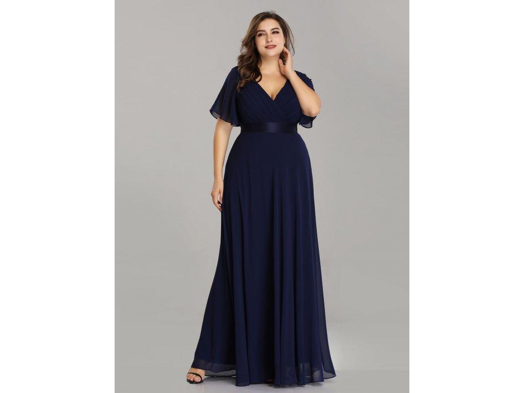 Dlouhé tmavě modré šaty s krátkým rukávem