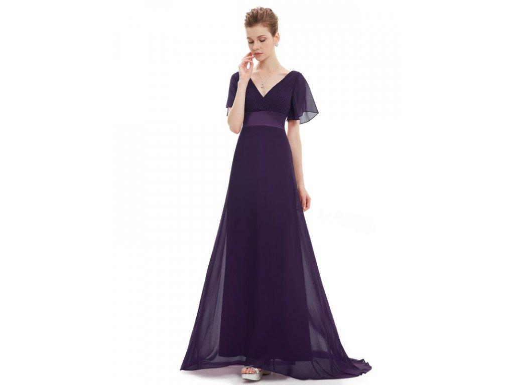 Ever Pretty plesové šaty tmavě fialové 9890 (Velikost 3XL / 48 / 16 / 20)