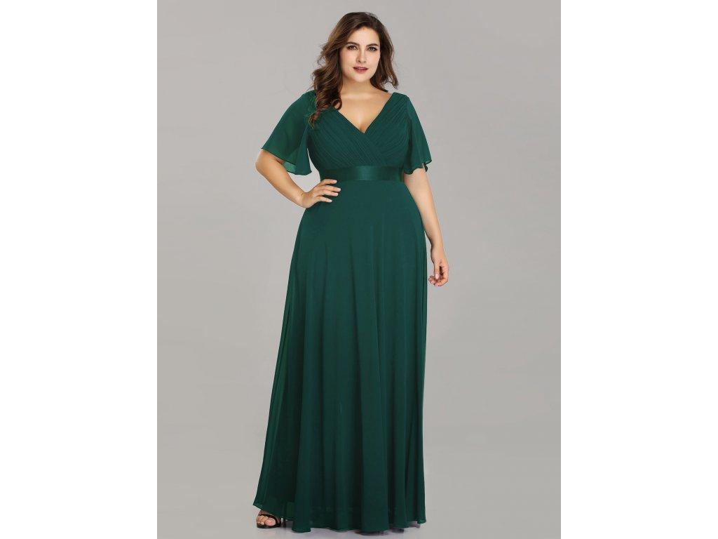 Dlouhé zelené šaty s rukávem