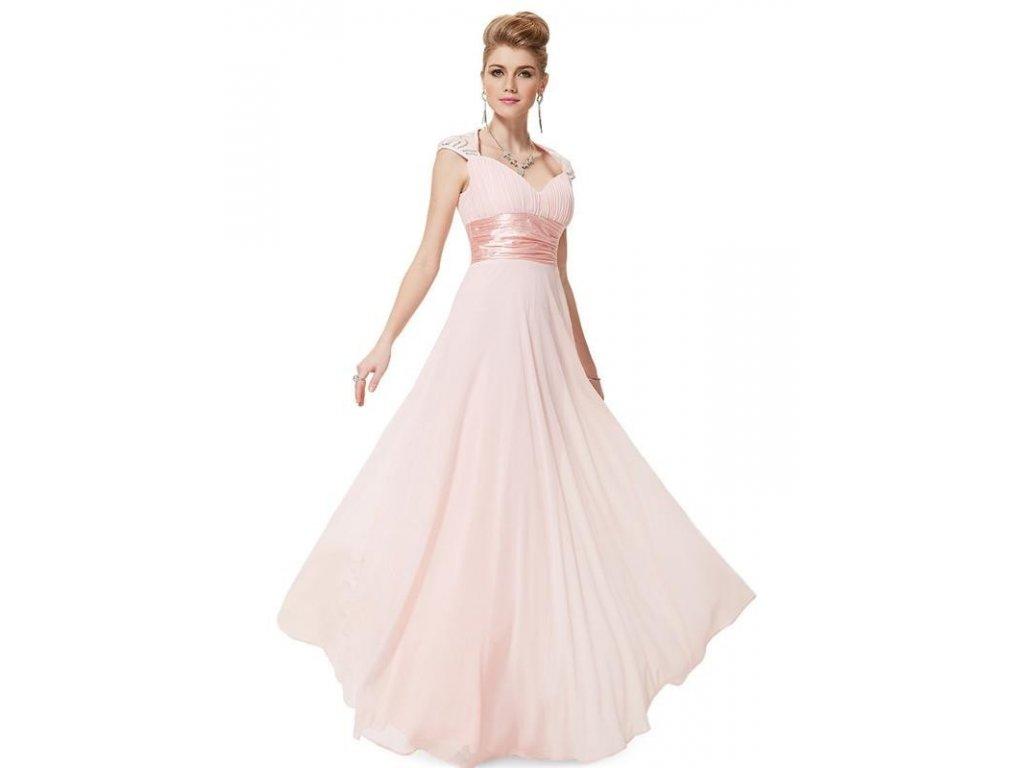 Ever Pretty plesové šaty s flitry jemně růžové 9672 (Velikost 3XL / 48 / 16 / 20)