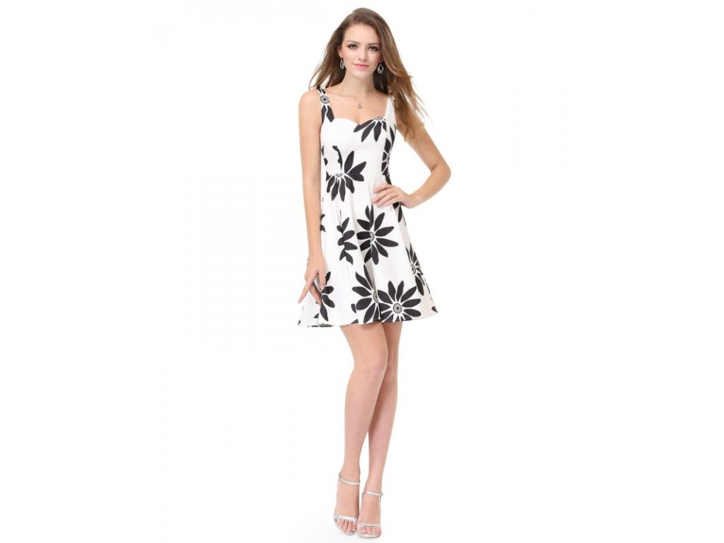 Ever Pretty luxusní letní šaty bílé s černými květy 5476 (Velikost 3XL / 48 / 16 / 20)