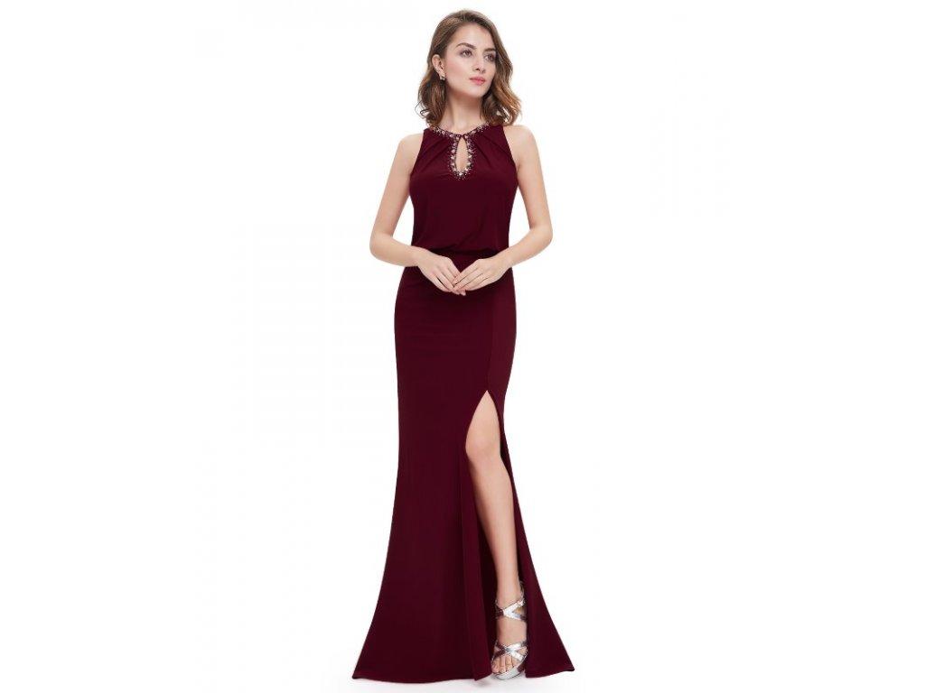 Ever Pretty plesové šaty bordo zdobené kamínky 8383 (Velikost 3XL / 48 / 16 / 20)
