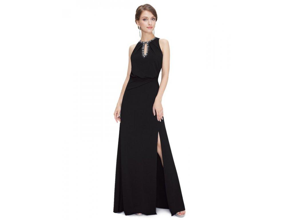 Ever Pretty plesové šaty černé zdobené kamínky 8383 (Velikost 3XL / 48 / 16 / 20)