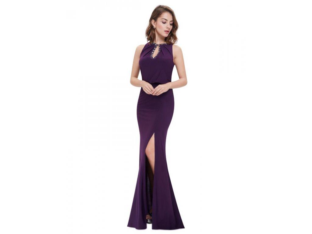 Ever Pretty plesové šaty fialové zdobené kamínky 8383 (Velikost 3XL / 48 / 16 / 20)