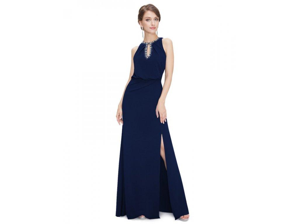 Ever Pretty plesové šaty modré zdobené kamínky 8383 (Velikost 3XL / 48 / 16 / 20)