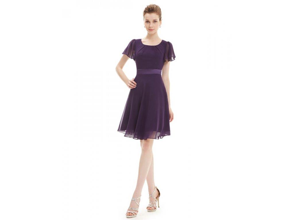 Ever Pretty šaty krátké tmavě fialové 3990 (Velikost 3XL   48   16   20 d9038f088c5