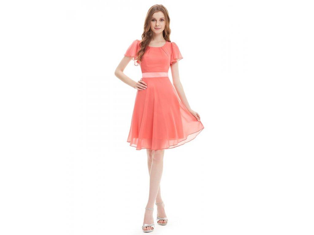 Šaty do tanečních či plesy lososové Ever Pretty 3990 (Velikost 3XL / 48 / 16 / 20)