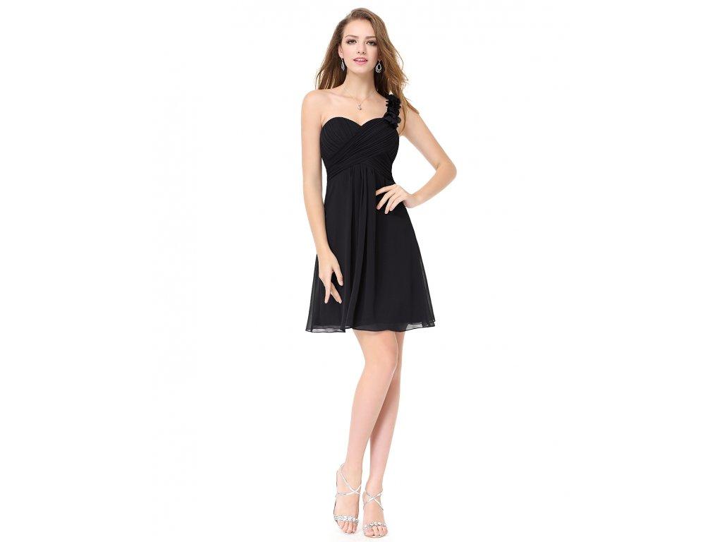 Ever Pretty šifonové šaty krátké černé 3535 (Velikost 3XL / 48 / 16 / 20)