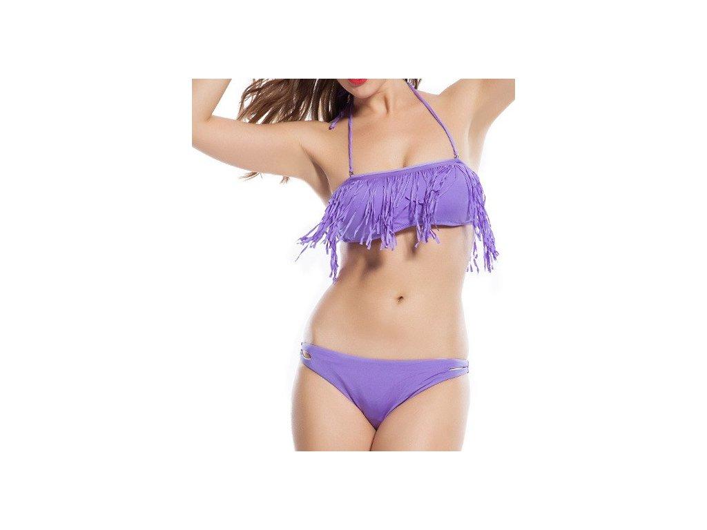 Plavky s třásněmi fialové LM505 bikiny