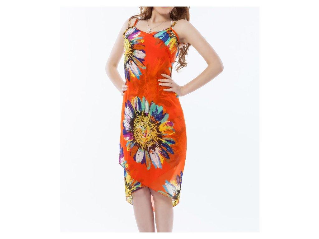 Plážové zavinovací šaty s květy oranžové - trendy-obleceni.cz 2ed550b4f2