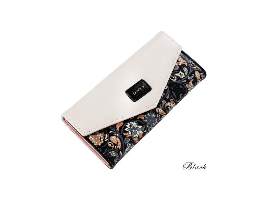 Dámská peněženka s květinovým motivem černá