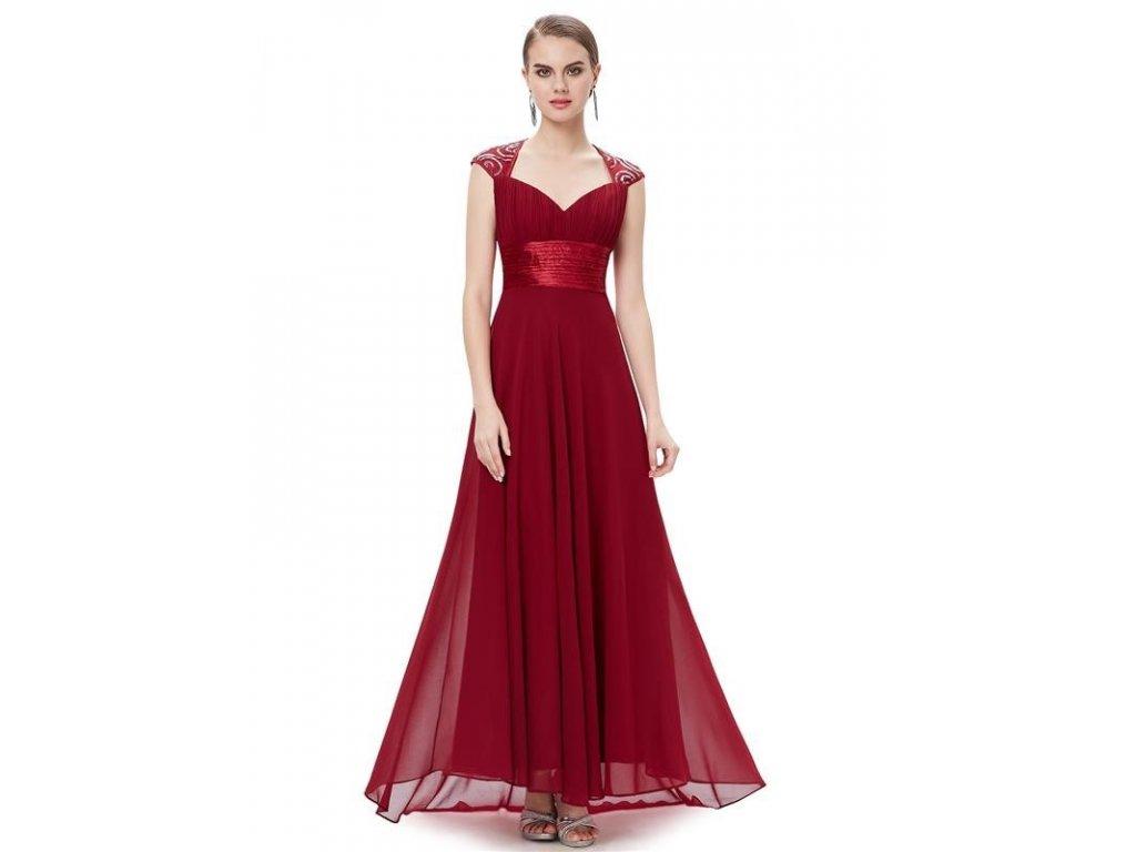 Ever Pretty plesové šaty s flitry bordo 9672 (Velikost 3XL / 48 / 16 / 20)