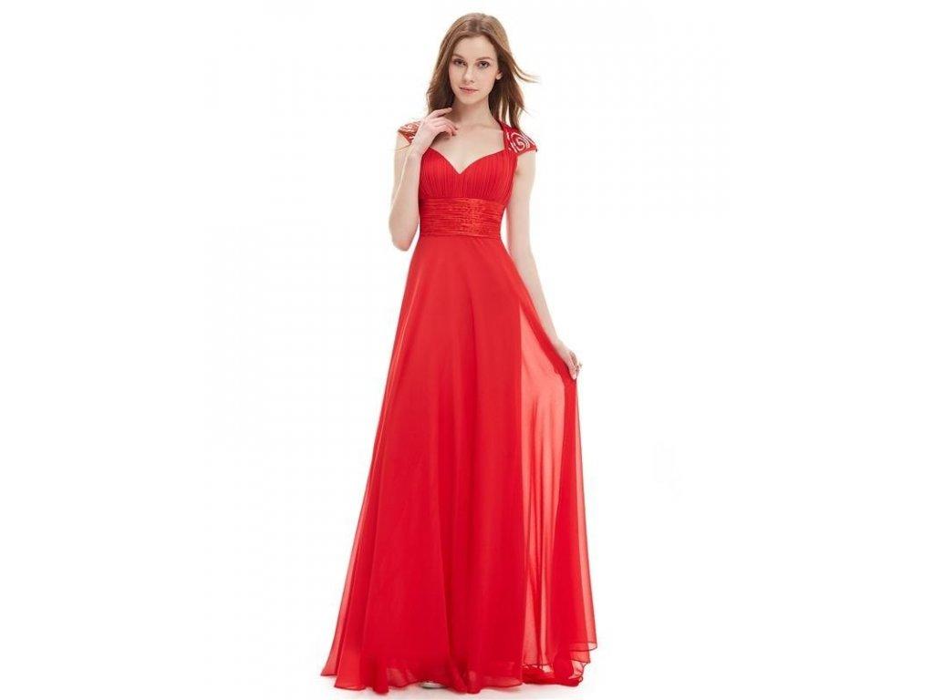 Ever Pretty plesové šaty s flitry červené 9672 (Velikost 3XL / 48 / 16 / 20)