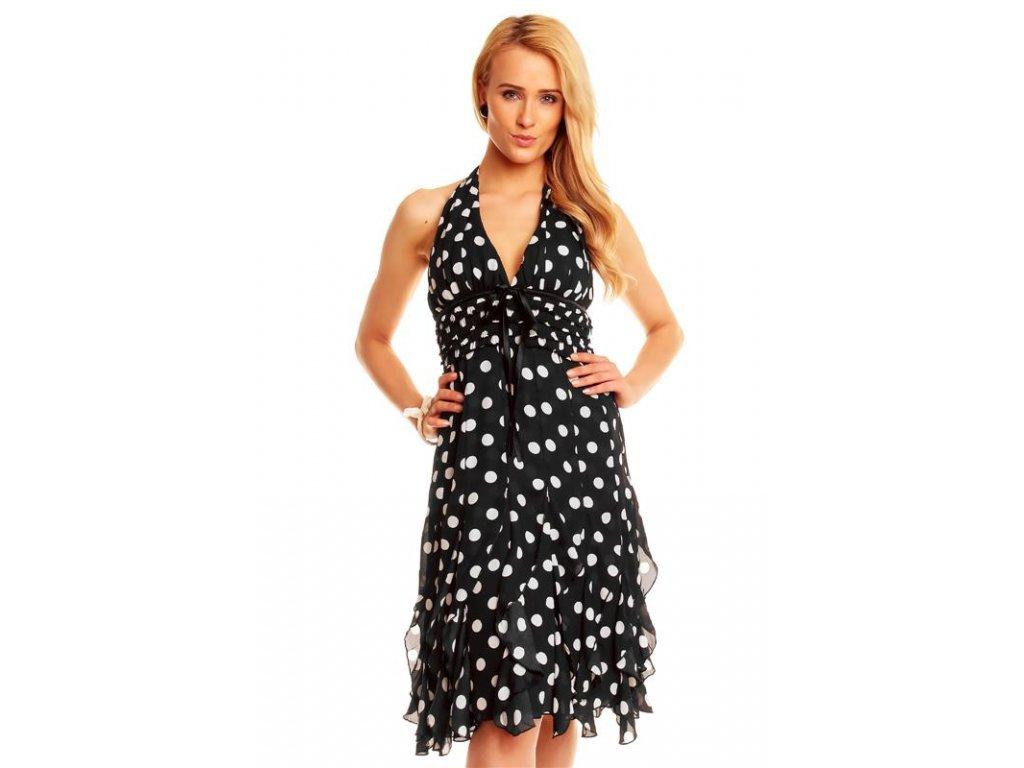 A Letní šaty černé s puntíky
