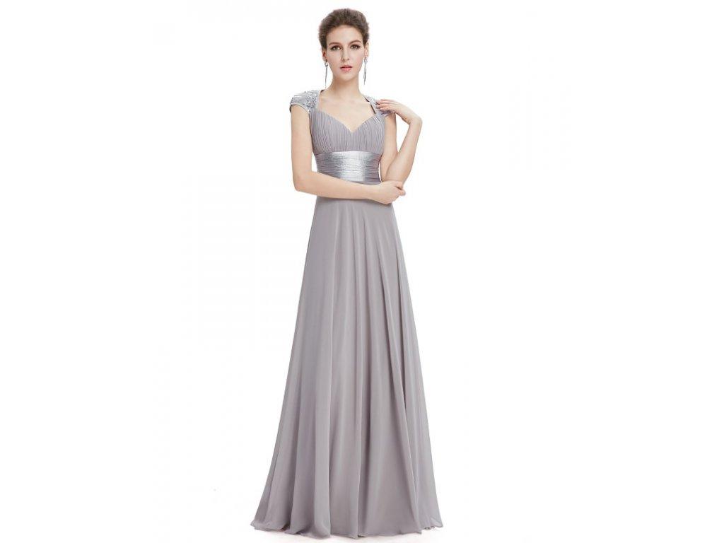 Ever Pretty plesové šaty s flitry šedé 9672 (Velikost 3XL / 48 / 16 / 20)