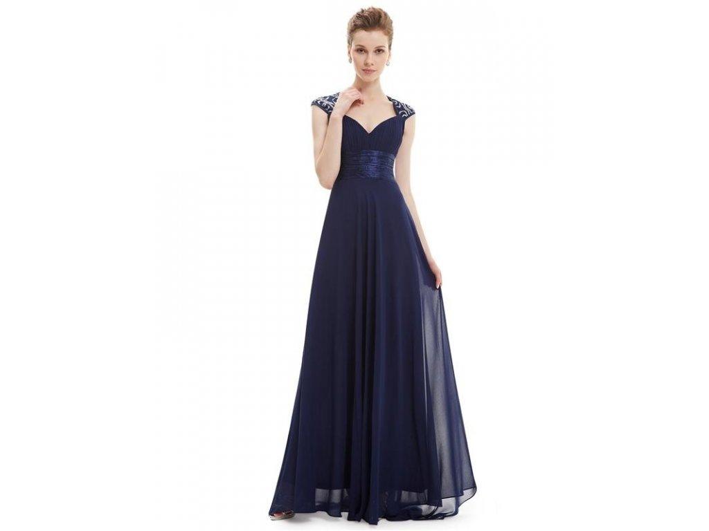 Ever Pretty plesové šaty s flitry tmavě modrá 9672 (Velikost 3XL / 48 / 16 / 20)