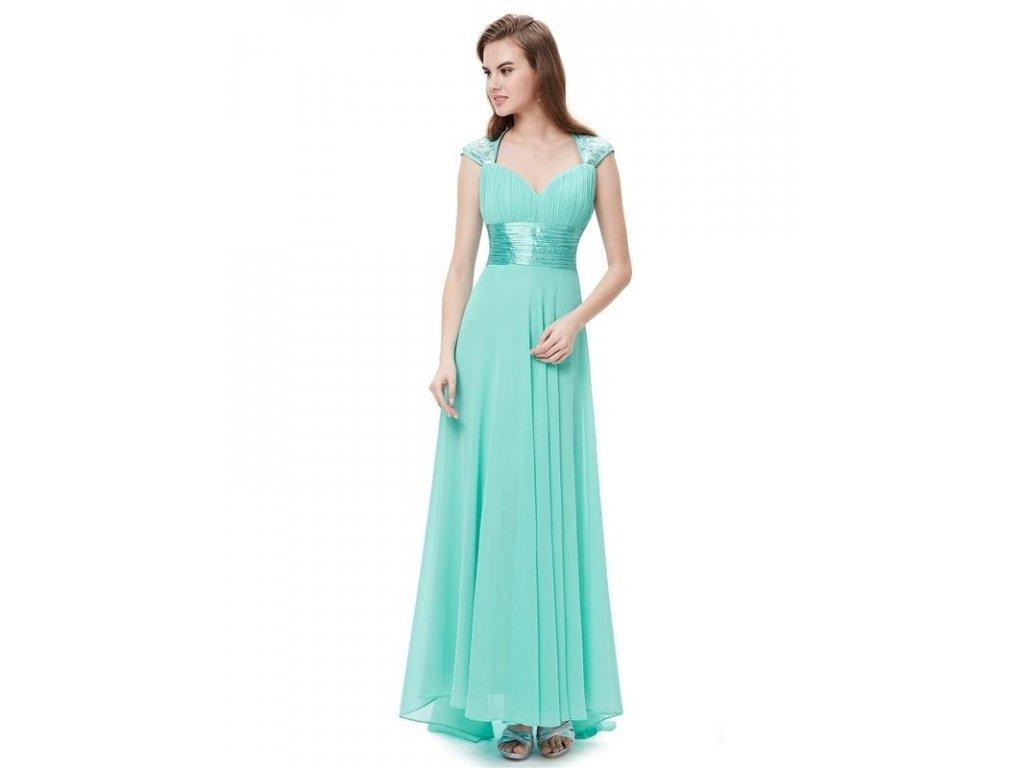 Ever Pretty plesové šaty s flitry tyrkysové 9672 (Velikost 3XL / 48 / 16 / 20)