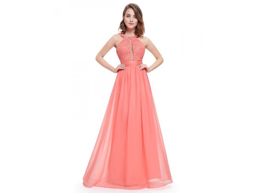 Ever Pretty šaty dlouhé korálové 8572 (Velikost 3XL / 48 / 16 / 20)