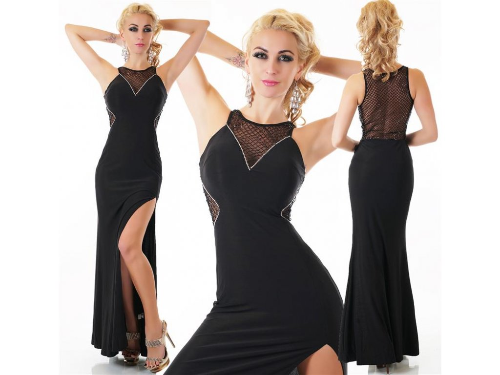 Queen O.F. plesové šaty dlouhé černé ST133