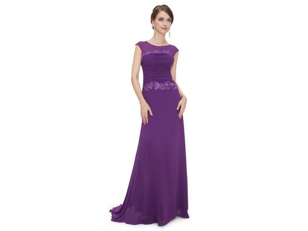 Plesové šaty s krajkou fialové - romantické Ever Pretty 8369 (Velikost 3XL    48   66888723446