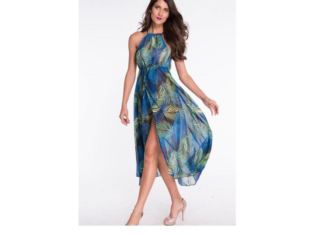 Hot Selling Woman Fashion Palm Desert Navy blue Multi color Slit Maxi Dress LC60631 US 12