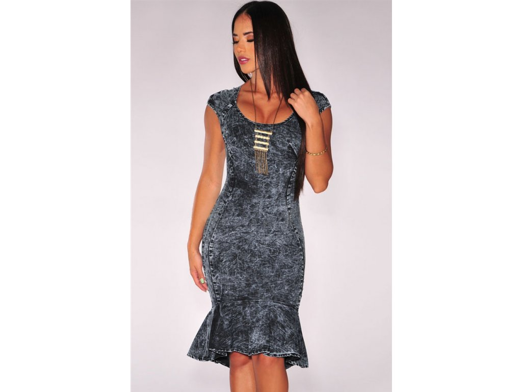 Dark Denim Mermaid Dress LC60452 14792