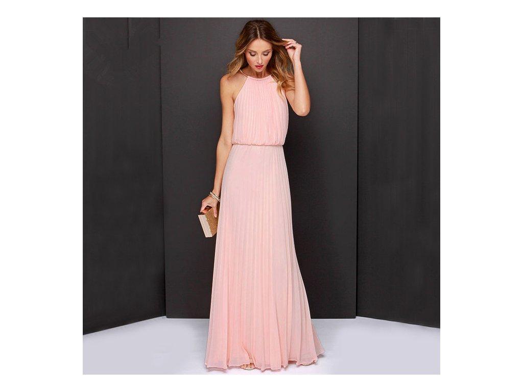 A Dlouhé letní šaty růžové šifon antický styl 239